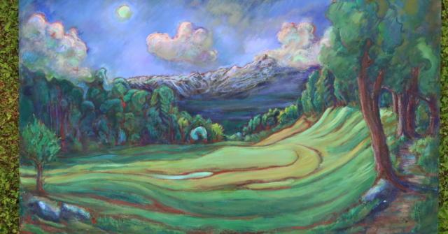 Green Moon over Solitude Hill